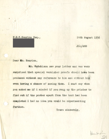Related object: Letter; from A.B. Beaumont to F.H.K. Henrion, 24 Aug 1956