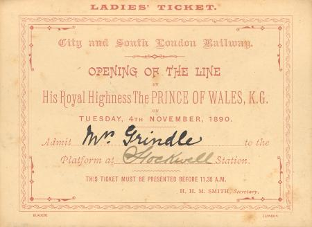 Related object: Ladies ticket for the opening of the City & South London Railway, issued to Mrs Grindle, 4 November 1890