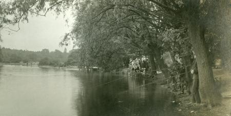 B/w print; anglers at connaught water, epping forest, kodak, 1900-20.