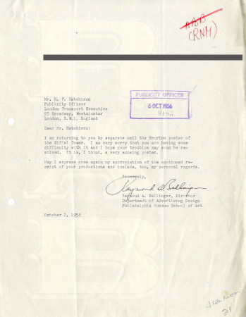 Related object: Letter; from Raymond A. Ballinger, Director, Department of Advertising Design,  Philadelphia Museum School of Art to Harold Hutchison, Publicity Officer, 6 Oct 1956