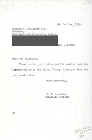 Related object: Letter; from Harold Hutchison, Publicity Officer to Raymond A. Ballinger, Director, Department of Advertising Design,  Philadelphia Museum School of Art, 9 Oct 1956