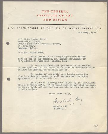 Related object: Letter; from Malcom Fry, Director of the Central Institute of Art and Design, to Harold Hutchison recommending Edward Mortelmans, 4 July 1947
