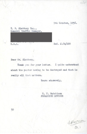 Related object: Letter; from Harold Hutchison, Publicity Officer to T.D. Slattery, General Traffic Manager, British and Irish Railways Inc. New York, 9 Oct 1956