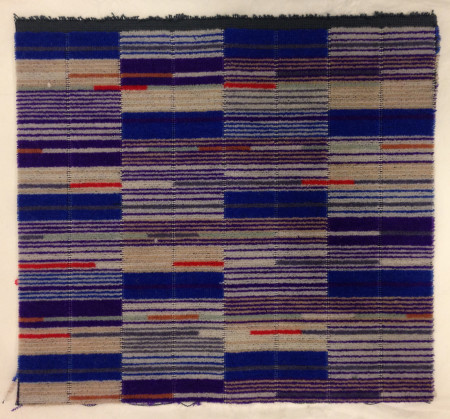 Moquette sample; small priority seating crossrail moquette sample for class 345 trains, designed by wallace sewell, 2015