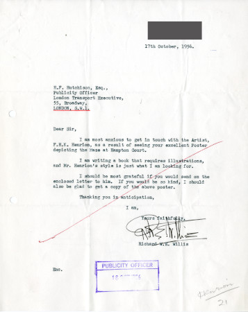 Related object: Letter; from RIchard W.E. Willis to Harold Hutchison, Publicity Officer, 17 Oct 1956