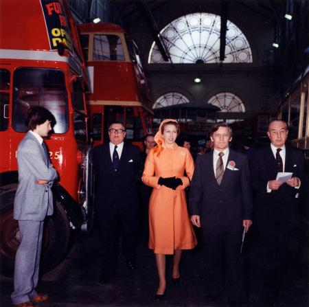 Colour print, Princess Anne at the opening of Londons Transport Museum, by Paul Proctor, 1980