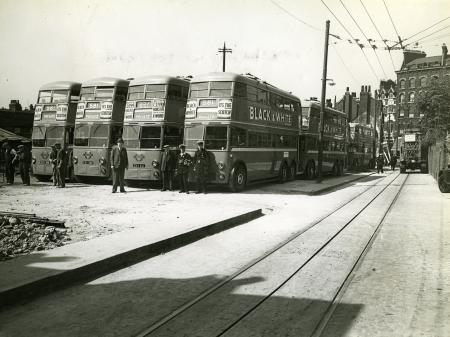 Related object: B/W print; K2 class trolleybuses are lined up near to Hackney depot by Topical Press, 1939