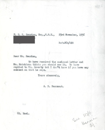 Related object: Letter; from A.B. Beaumont to F.H.K Heurian [sic