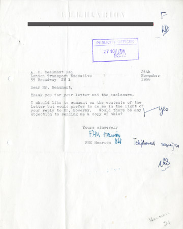 Related object: Letter; from  F.H.K Henrion to A.B. Beaumont, 26 Nov 1956