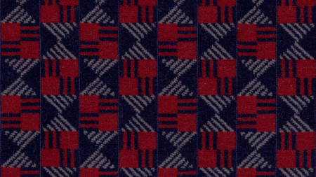 Moquette sample; Central line check design, as used on Central line 1992-tube stock, by Jonathan Sothcott, circa 1990