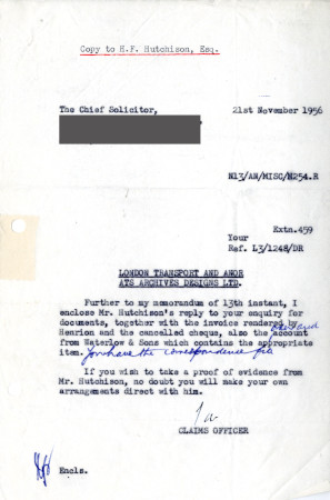 Related object: Letter; from S.A. Webb, Claims Officer to The Chief Solicitor, British Transport Commission, 21  Nov 1956