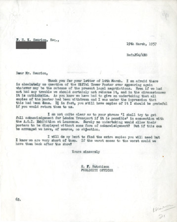 Related object: Letter; from Harold Hutchison to F.H. K. Henrion, 19  Mar 1957