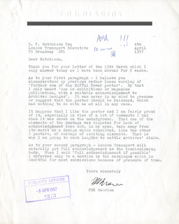 Related object: Letter; from  F.H. K. Henrion to Harold Hutchison, 4 Apr 1957
