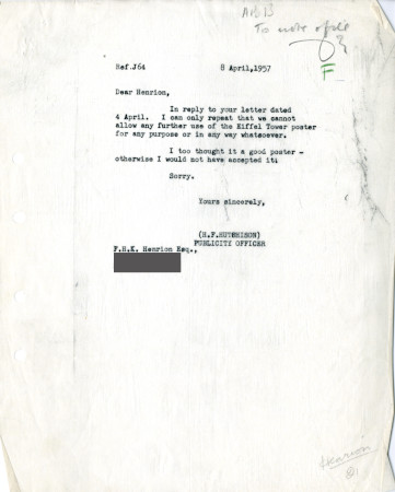 Related object: Letter; from Harold Hutchison to F.H. K. Henrion, 8 Apr 1957