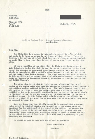 Related object: Letter; from Cliftons, Solicitors to the Chief Solicitor, British Transport Commission , 21 Mar 1957
