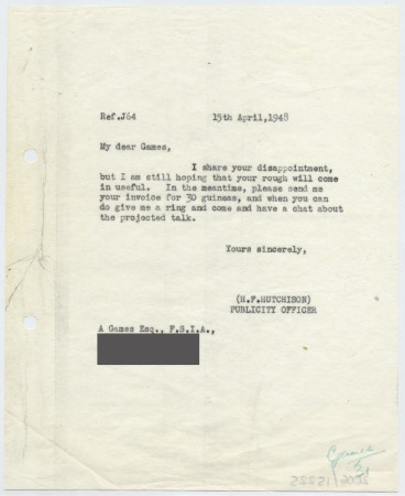 Related object: Letter; from Harold Hutchison to Abram Games, about unused Olympic Games poster design, 15 April 1948