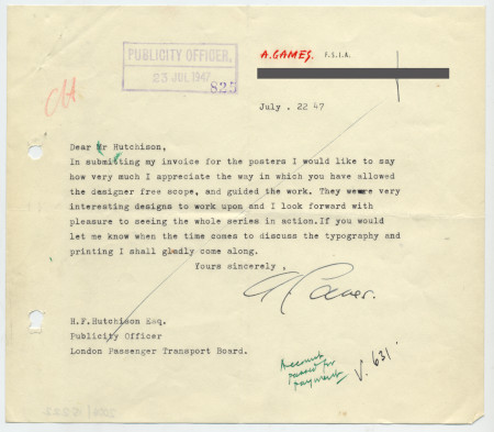 Related object: Letter; Abram Games to Harold Hutchison about his designs for London Transport at London