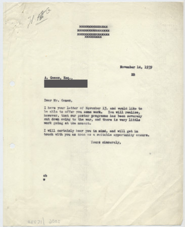 Related object: Letter; Christian Barman to Abram Games, about future work prospects, 14 November 1939