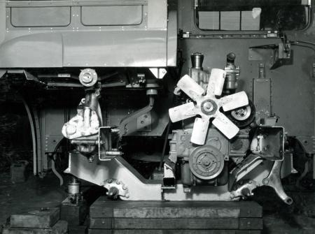 Related object: B/W print; RM2 Routemaster bus, front view of the engine by Chiswick Laboratory, 25 Feb 1955