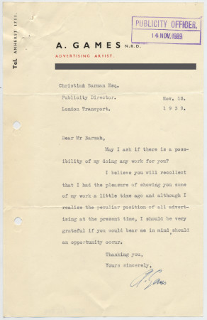 Related object: Letter; Abram Games to Christian Barman enquiring about future work, 13 November 1939