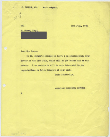 Related object: Letter; London Transport Assistant Publicity Officer to Abram Games, about reproductions in Art and Industry, 26 July 1939