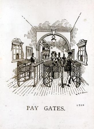 Related object: b/w glass neg, Sketch of booking hall and pay gates at Stockwell station City & South London Railway (C&SLR), 1890