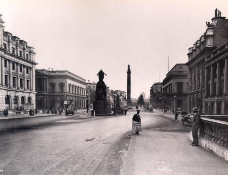 BW print; Waterloo Place in 1923 showing the north eastern corner By Pall Mall as rebuilt in 1922, 1923
