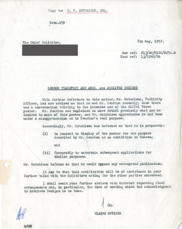Related object: Letter; from S.A. Webb, Claims Officer to the Chief Solicitor, British Transport Commission , 8 May 1957