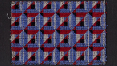 Sample of moquette as proposed for piccadilly line, 1973-tube stock, refurbishment, 1994.