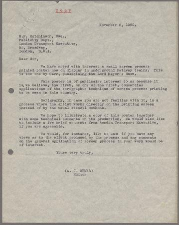 Related object: Letter; from A J Symes, Editor Display Design and Presentation  to Harold Hutchison about Francis Carr