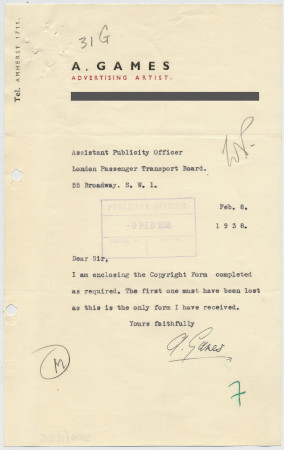 Related object: Letter; Abram Games to the Assistant Publicity Officer, about enclosed copyright form, 8 February 1938