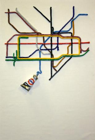 Related object: Poster artwork; The Tate Gallery by tube, by David Booth of Fine White Line, 1986