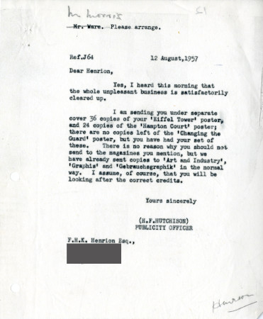 Related object: Letter; from Harold Hutchison to F.H. K. Henrion, 12 Aug 1957