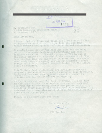 Related object: Letter; from F.H.K. Henrion to Harold Hutchison, 19 Apr 1956