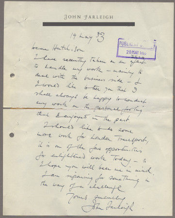 Related object: Letter; from John Farleigh to Harold Hutchison, 19 May 1953