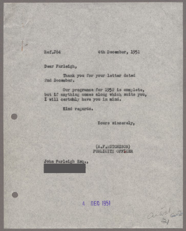 Related object: Letter; from Harold Hutchison toJohn Farleigh, 4 Dec 1951