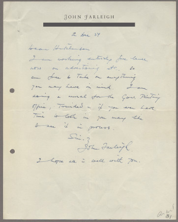 Related object: Letter; from John Farleigh to Harold Hutchison, 2 Dec 1951