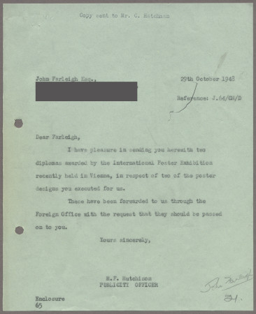 Related object: Letter; from Harold Hutchison to John Farleigh, 29 Oct 1948
