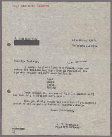 Related object: Letter; from Harold Hutchison to John Farleigh, 3 Feb 1947