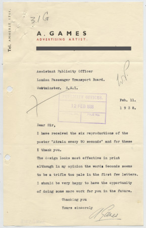 Related object: Letter; Abram Games to the Assistant Publicity Officer about