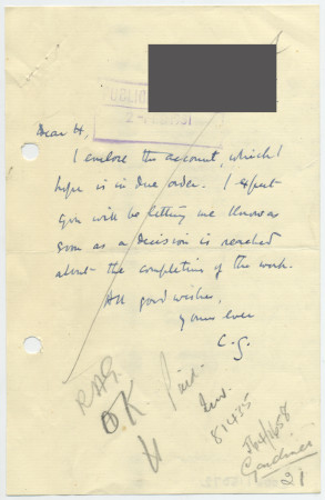 Related object: Letter; from Clive Gardiner to Publicity Officer about his account, 2 February 1951