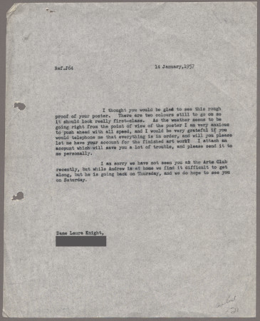 Related object: Letter; Laura Knight to Harold Hutchison about proof of poster design, 14 January 1957