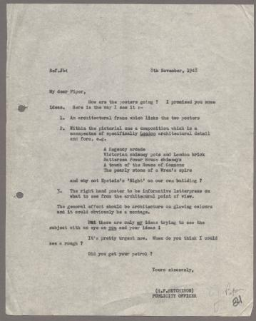 Related object: Letter; from Harold Hutchison to John Piper about his poster design, 8 November 1948