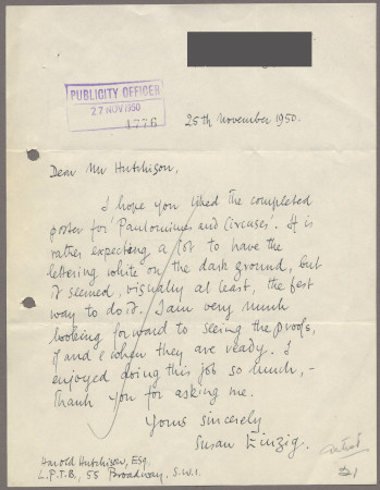Related object: Letter; from Susan Einzig to Harold Hutchison, 25 Nov 1950