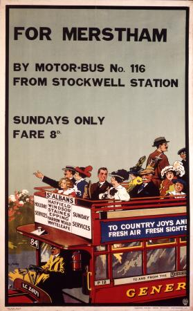 Related object: Poster; For Merstham; by motorbus, by F C Kealey, 1913