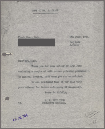 Related object: Letter; from Harold Hutchison to Francis Carr about printers Messrs Bovince, 9 July  1954