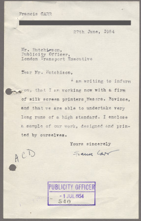 Related object: Letter; from Francis Carr to Harold Hutchison recommending printers Messrs Bovince, 27 June  1954