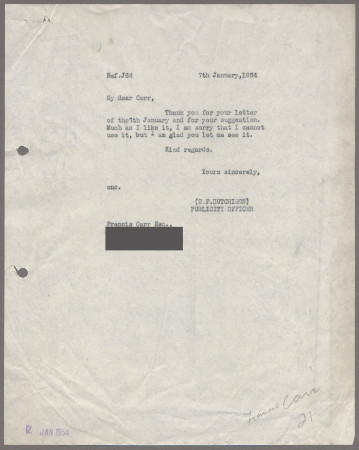 Related object: Letter; from Harold Hutchison to Francis Carr about his suggestion for another poster, 7 January  1954