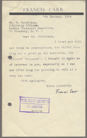 Related object: Letter; from Francis Carr to Harold Hutchison about a suggestion for another poster, 5 January  1954