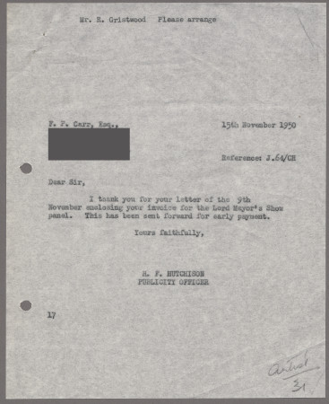 Related object: Letter; from Harold Hutchison to A J Symes about Francis Carr
